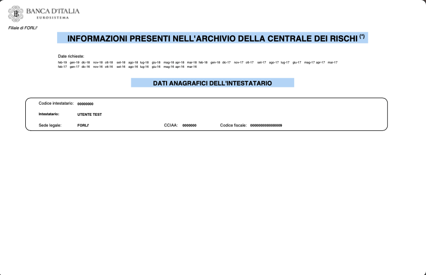 Esempio Visura Centrale Rischi Banca d'Italia PDF